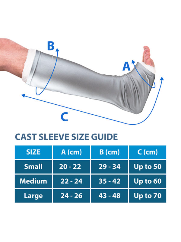 A size guide for the LimbO Leg Cast Sleeve, sold by LimbO Products
