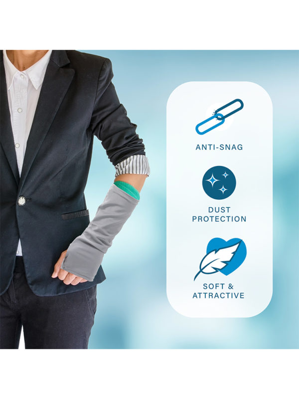 An infographic detailing the features of the LimbO Arm Cast Sleeve as sold by LimbO Products