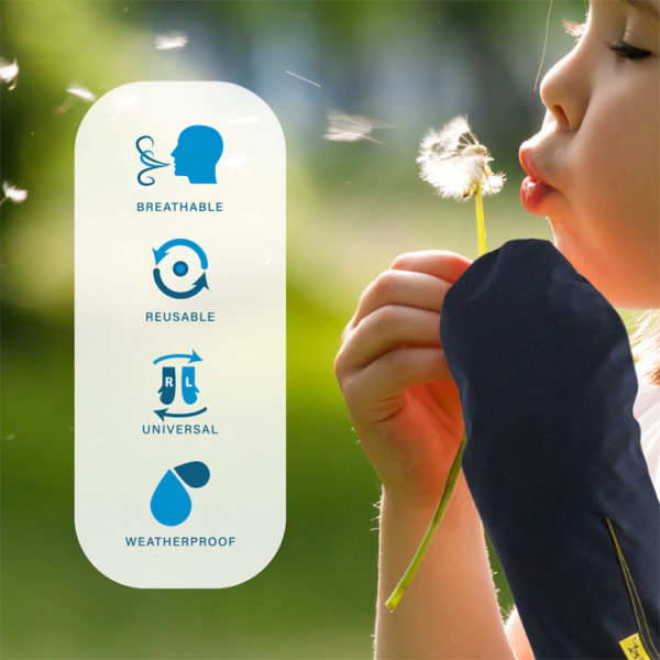 An infographic detailing the features of the Outcast Child Arm Outdoor Weather Protector