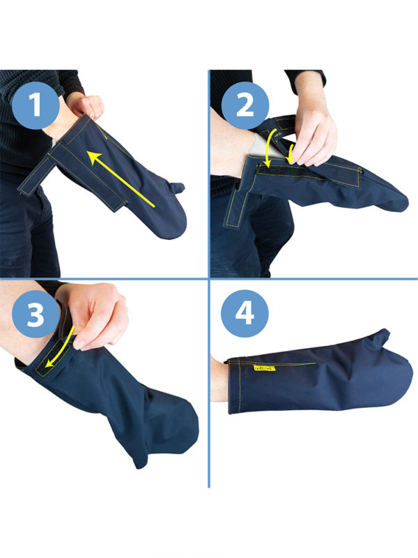Fitting instructions for an Outcast Adult Arm Outdoor Weather Protector Mitt