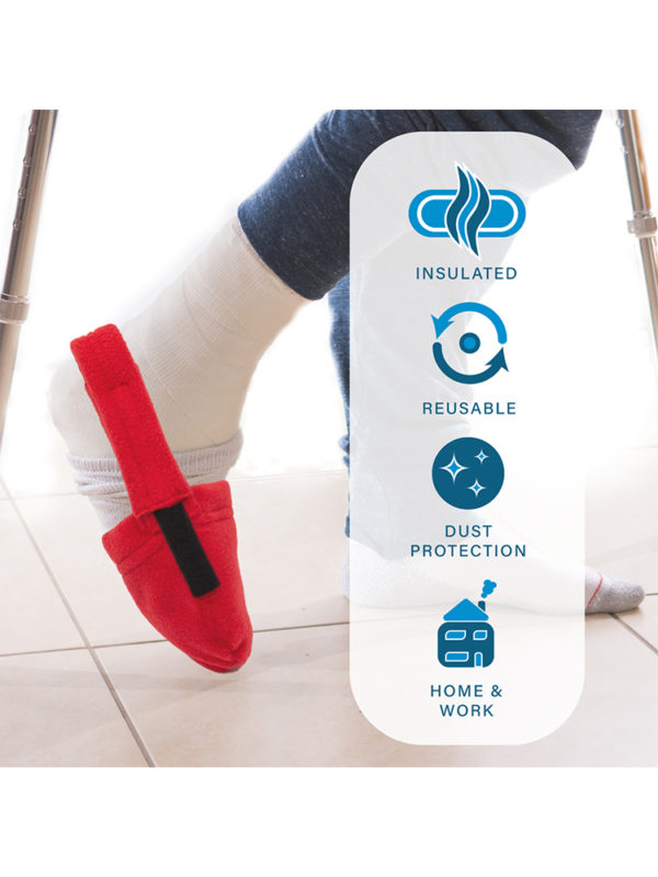 An infographic detailing the features of the LimbO Toe Cozy as sold by LimbO Products