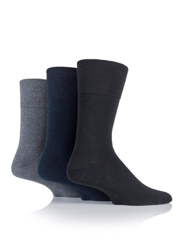 An image of three socks being worn and the variations of blue and grey that are available in the Gentle Grip Socks Men's range
