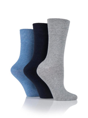 An image of three Gentle Grip Cotton Socks being worn and the 3 colour variations of blue and grey that are available in the range