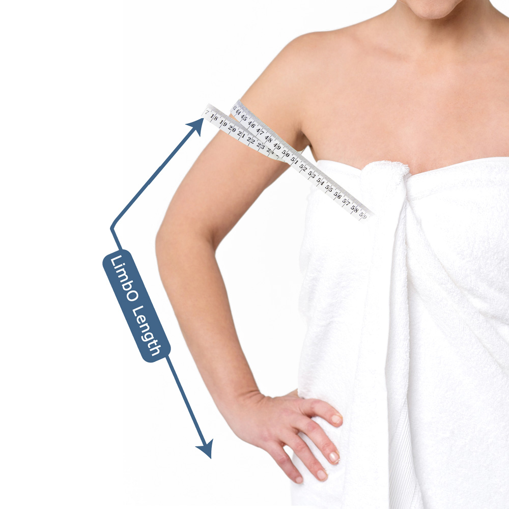 Measuring guide for a full arm LimbO Waterproof Protector