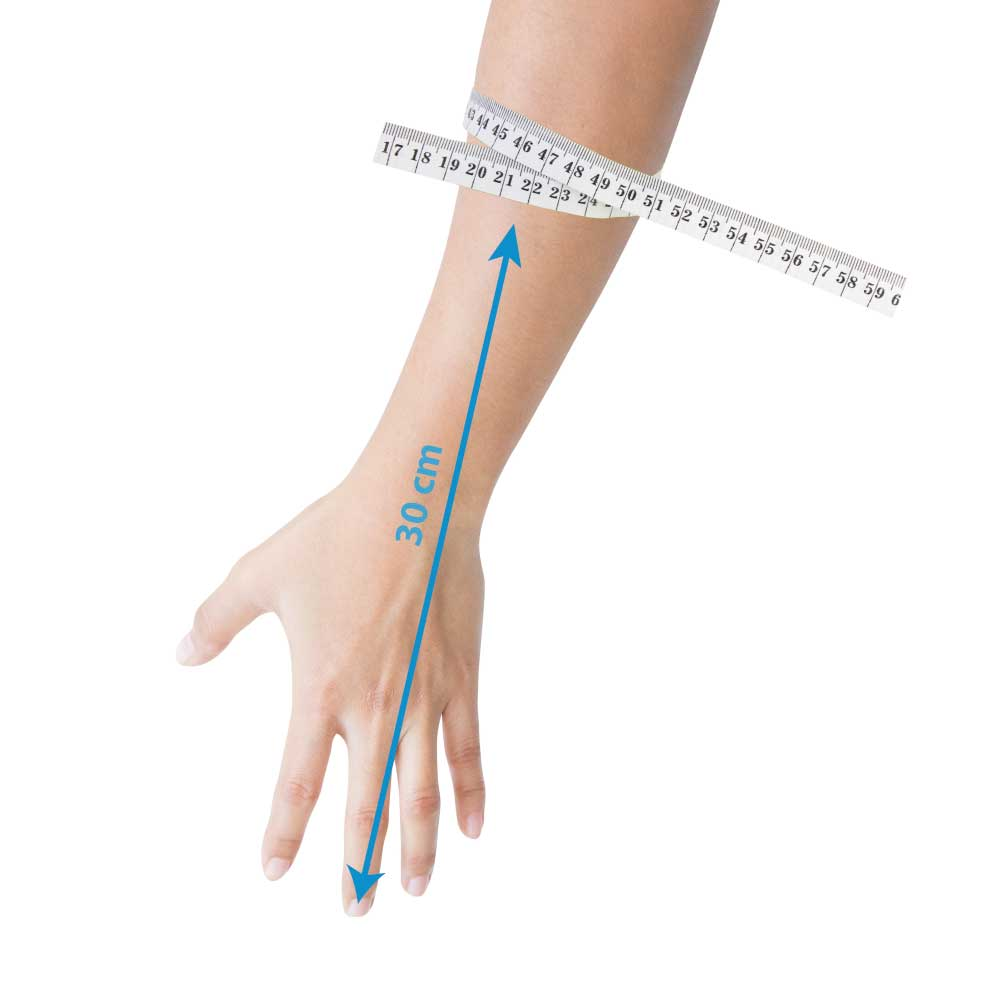 Measuring guide for an Adult Hand LimbO Waterproof Protector