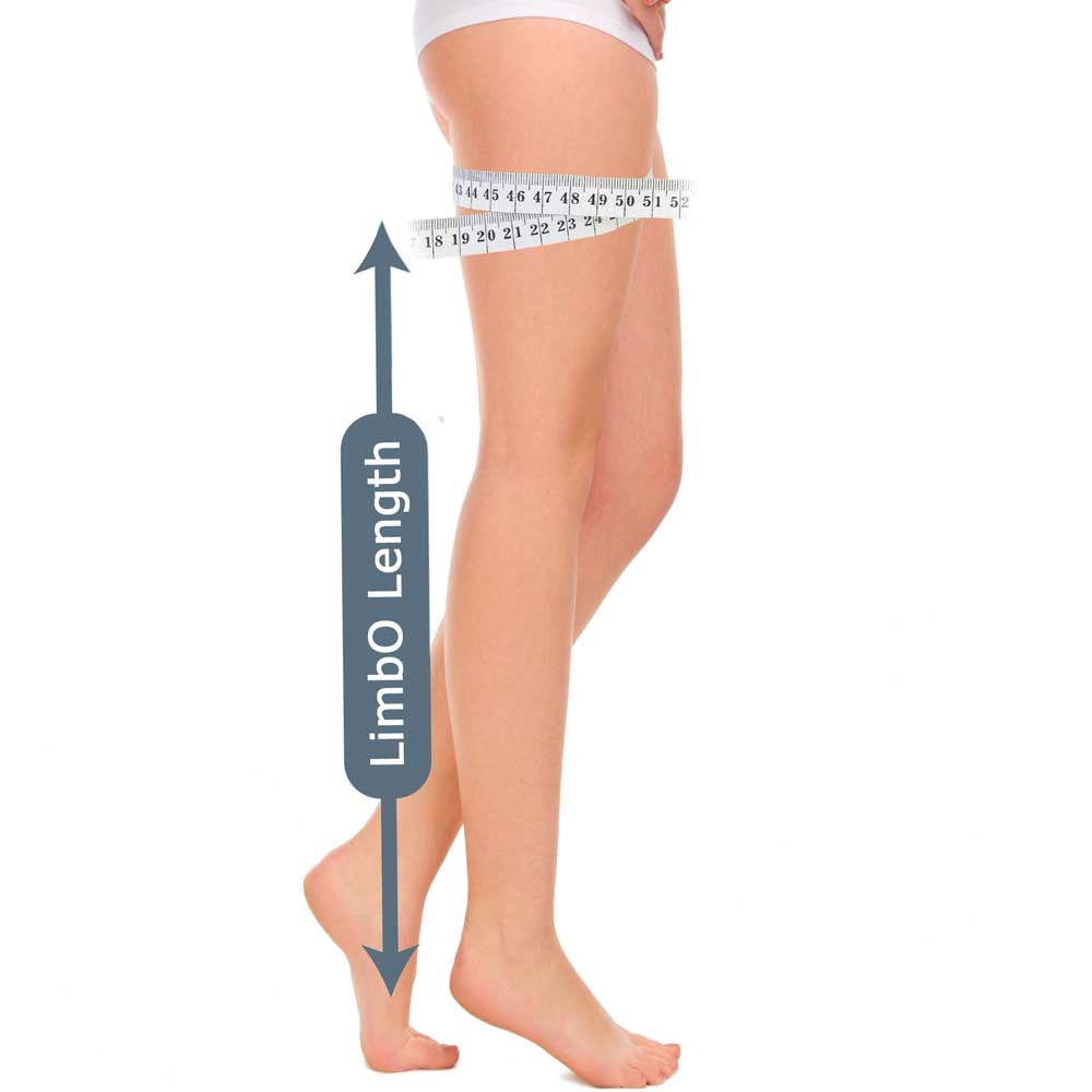 Measuring guide for a full leg LimbO Waterproof Protector