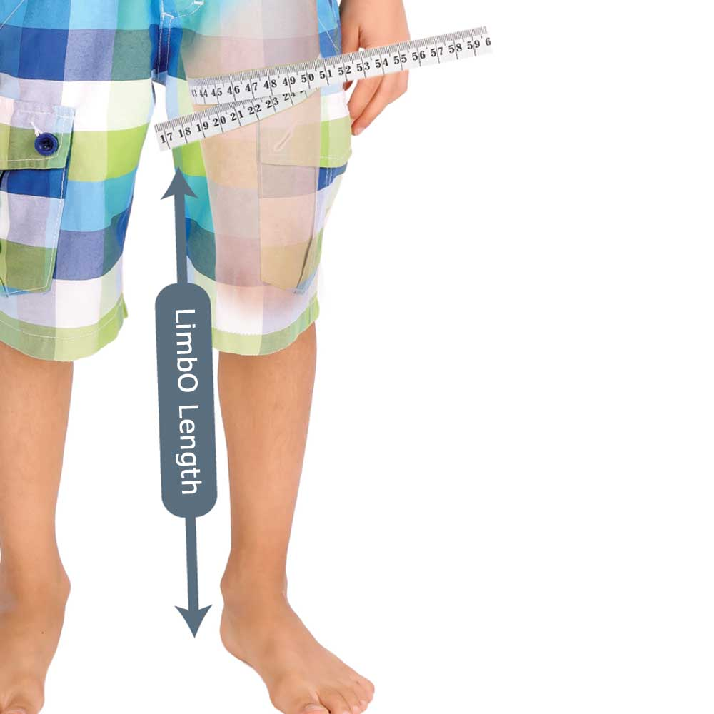 Measuring guide for a Child's Full Leg LimbO Waterproof Protector