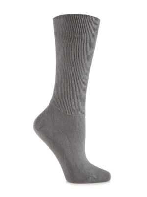 A grey IOMI Footnurse® Extra Wide Sock that has been put on an artificial foot to demonstrate the appearance when worn on an actual foot