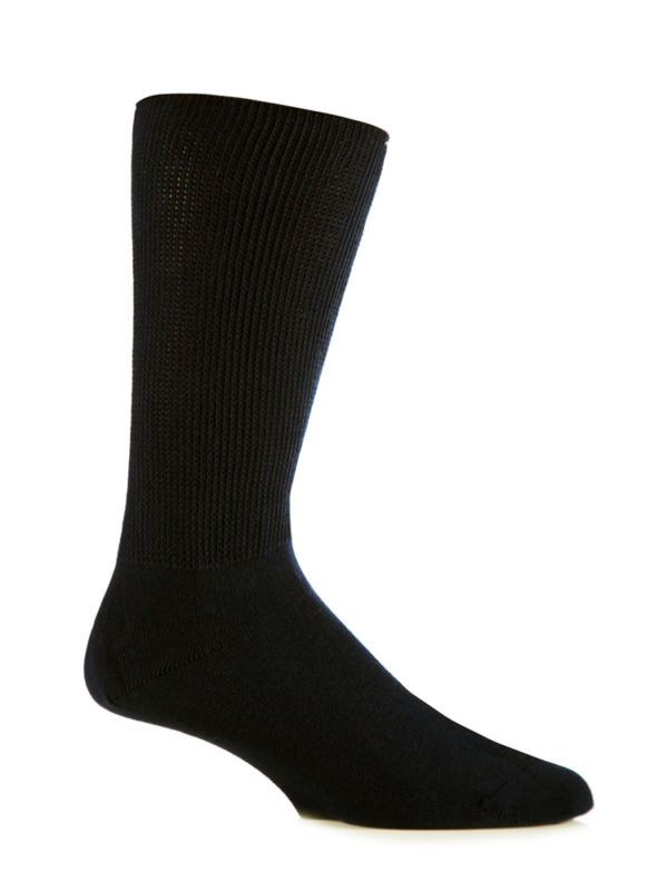 A black IOMI Footnurse® Extra Wide Sock that has been put on an artificial foot to demonstrate the appearance when worn on an actual foot