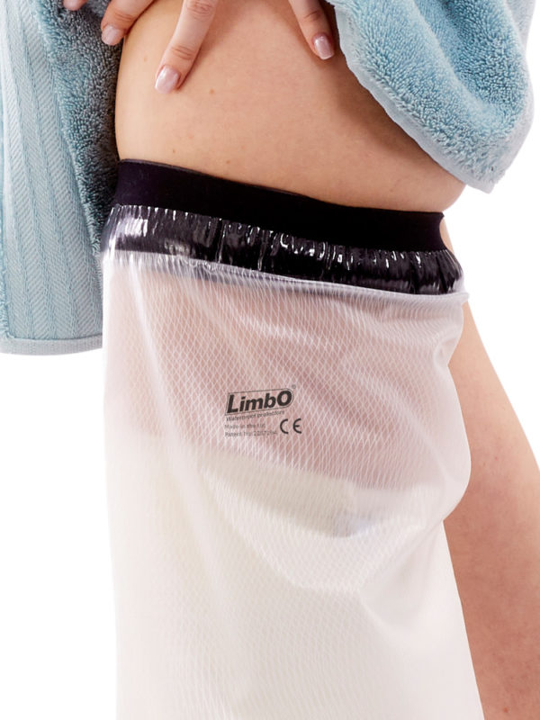 Close up of the neoprene seal on an Adult Full Leg LimbO Waterproof Protector