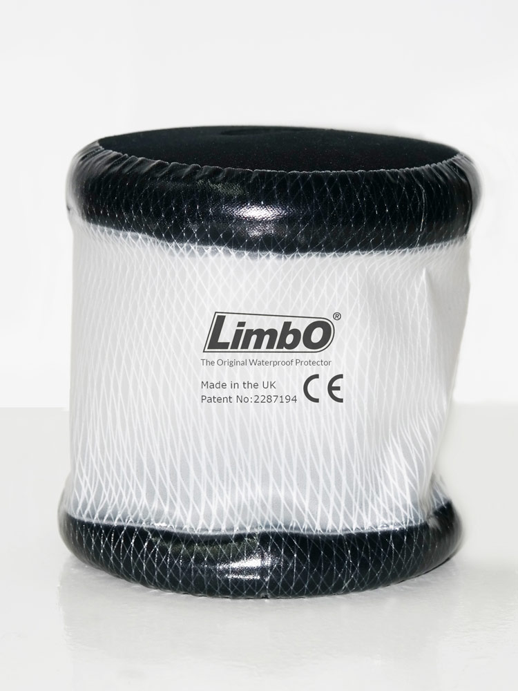 A product only shot of a LimbO Child's Elbow Waterproof Protector M45S, used to protect dressings and picc lines on the elbow area.