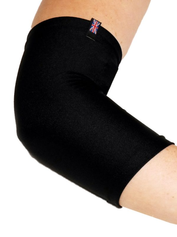 Close up of a woman's right arm wearing a black LimbO PICC Line Sleeve