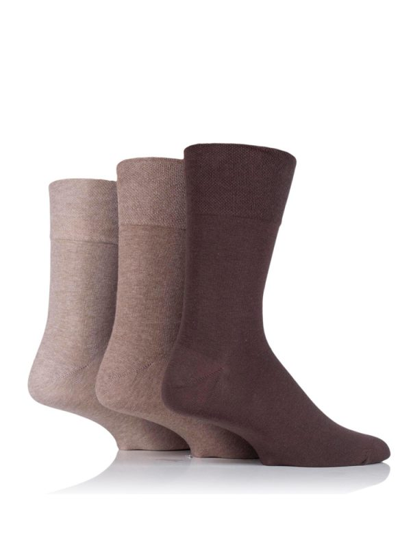 An image of three socks being worn and the variations of brown that are available in the Gentle Grip Socks Men's range